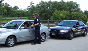 Police officer Stopping a Vehicle